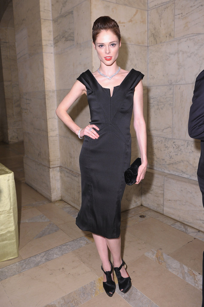 Coco Rocha arrived for the Norman Mailer Center Benefit Gala in a slim LBD.