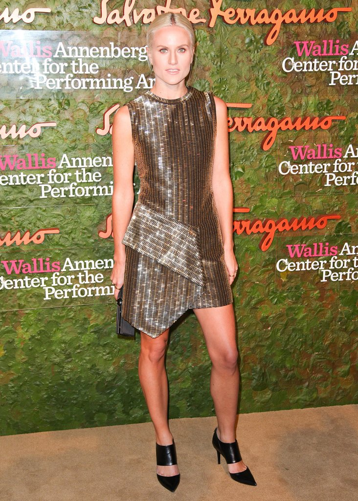 Olympia Scarry opted for a bold black and gold design for Ferragamo's Beverly Hills bash.