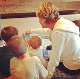 Jack Moynahan and Ben and Vivian Brady enjoyed story time with their grandmother. Source: Instagram user giseleofficial