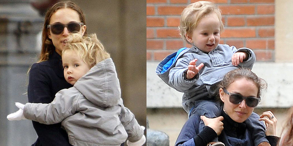 Natalie Portman Gives Aleph a Piggyback Ride Through Paris