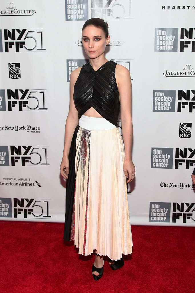 Sticking to her edgy aesthetic, Rooney Mara vamped it up at the New York Film Festival's closing-night gala for Her in Proenza Schouler's fresh-off-the-runway chrome printed silk cloqué dress.