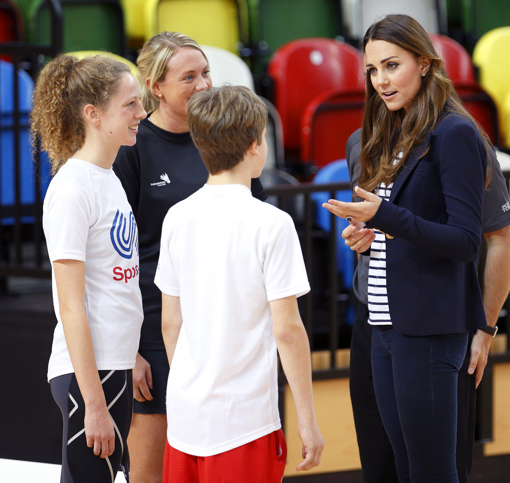 Kate Middleton chatted with some young athletes during the Sportaid Athlete Workshop in London.