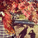 How perfectly does Vanessa Hudgens's hair match the Autumn leaves? Source: Instagram user vanessahudgens