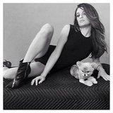 Lea Michele, and her flawless hair, posed with her new pup. Source: Instagram user msleamichele