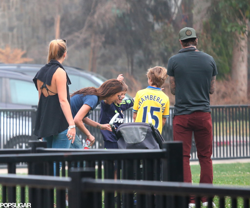 Victoria Beckham watched little Harper play soccer.