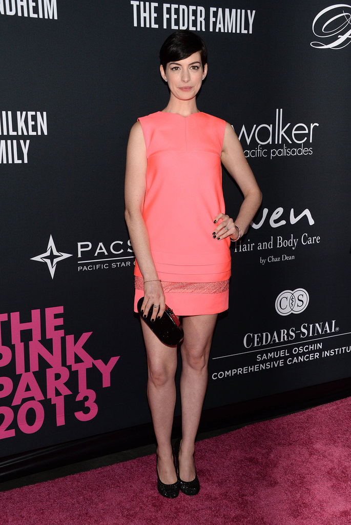 Anne Hathaway attended The Pink Party in LA.