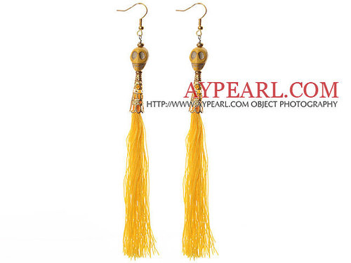 China Style Dyed Yellow Turquoise Skull and Yellow Thread Tassel Long Dangle Earrings