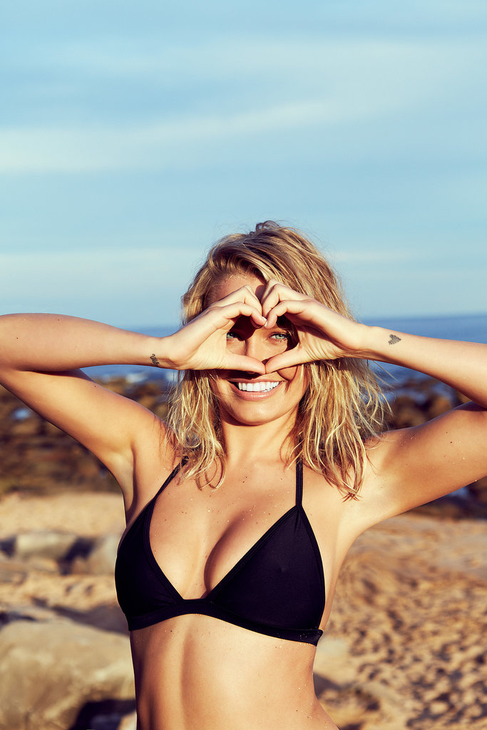 Lara Bingle modelled a black bikini in the campaign for her Lara Bingle For Cotton On Body swimwear line. Source: Cotton On