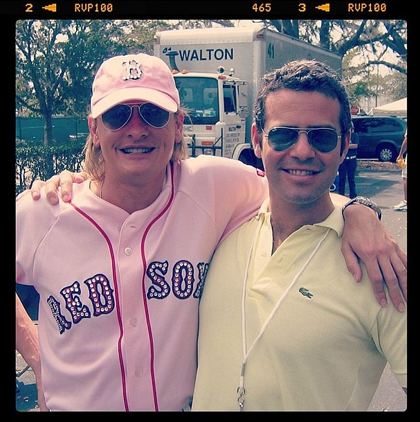 Old pals Andy Cohen and Carson Kressley got sporty on set. Source: Instagram user bravoandy