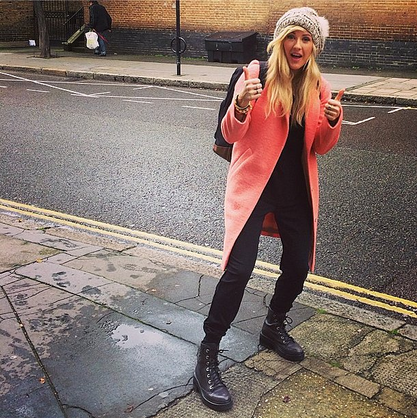 She claimed she was tired, but Ellie Goulding looked pretty chipper to us in her pink coat! Source: Instagram user elliegoulding