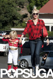 Gwen Stefani took a walk around LA with her costumed son Zuma on Saturday.