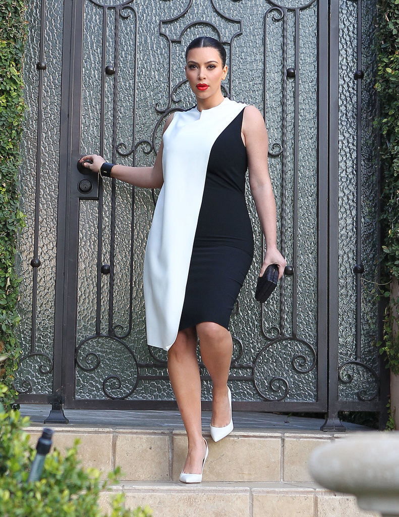 Wearing one of the year's most talked-about looks, Kim made a major impact in a very on-trend black and white shift.
