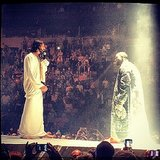 """Just when you thought someone who calls himself Yeezus couldn't go any further, Kanye brought out a Messiah look-alike during his debut show in Seattle on Oct. 19. During a performance of """"Jesus Walks,"""" Kanye reportedly said: """"White Jesus, is that you?… Oh, sh*t!"""" Source: Instagram user therajwacompany"""