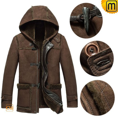 Men Sheepskin Winter Jacket with Hood CW877398