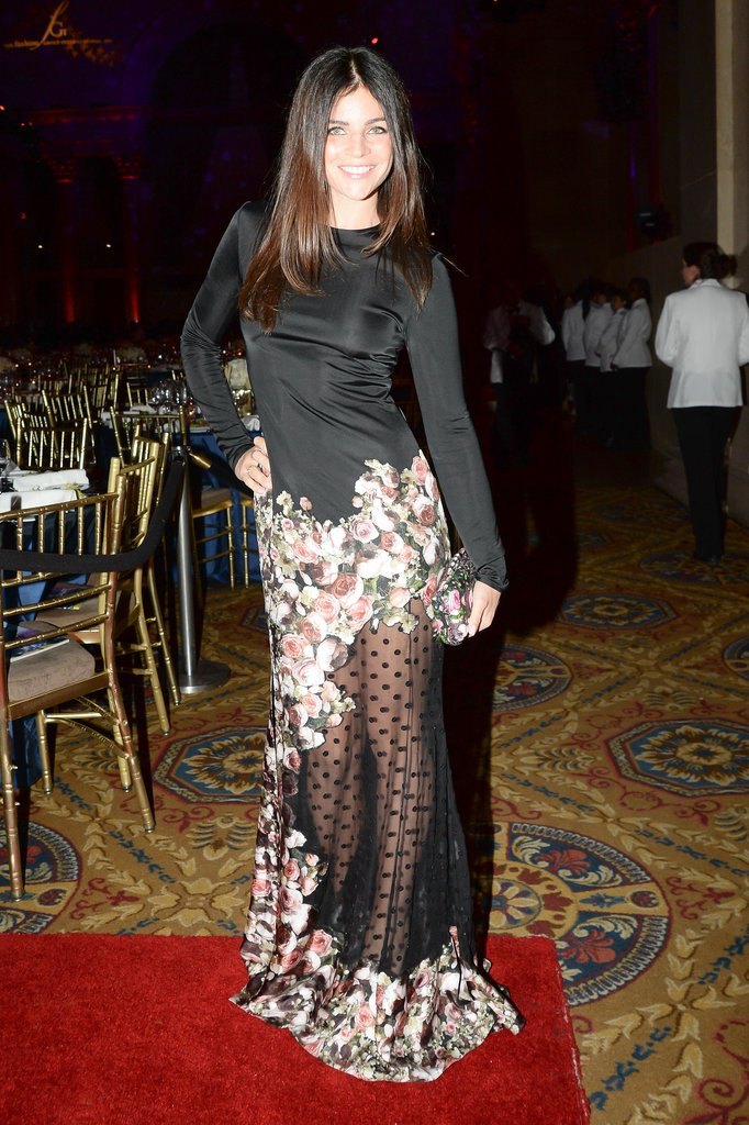 Julia Restoin Roitfeld looked great in a dress with a sheer skirt.