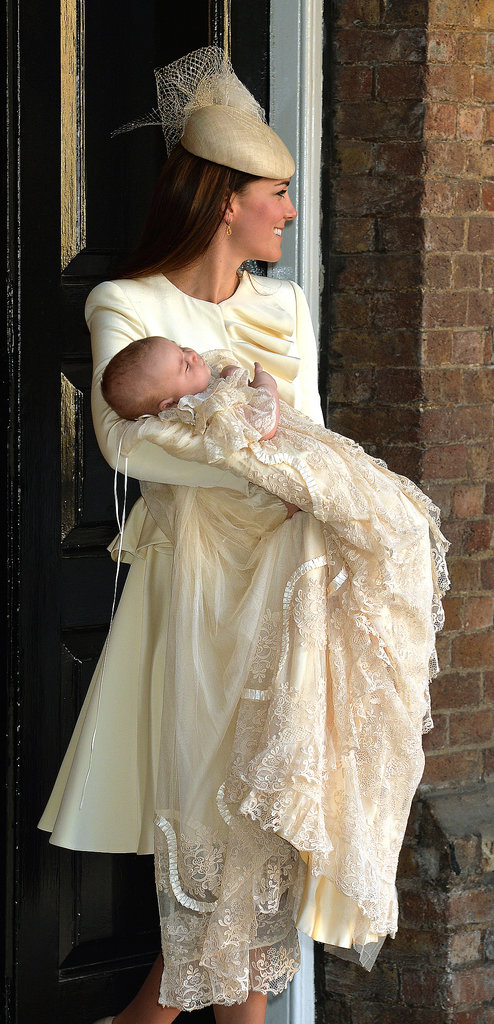 The most recent McQueen and Kate spotting? The proper dress that perfectly matched Prince George's christening gown.