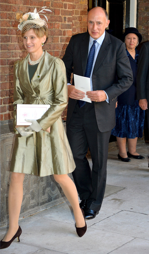 Godfather and William and Kate's private secretary Jamie Lowther-Pinkerton left the event.