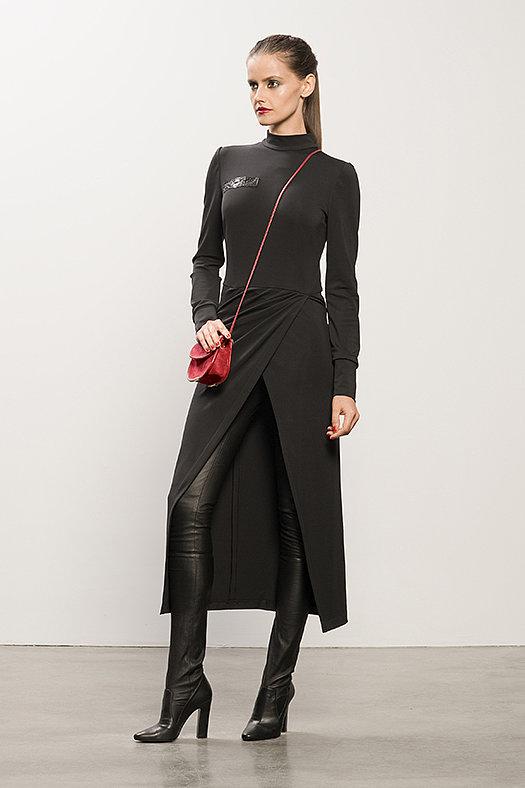 Long Black Jersey Dress With Snakeskin ($895), Sweet Revenge Black Leather Legging Boot ($1,995), TM Enjoy Red Suede Cross Body Bag ($650) Photo courtesy of Tamara Mellon