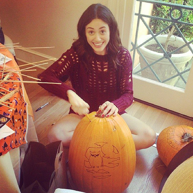Emmy Rossum got in the Halloween spirit with some pumpkin carving. Source: Instagram user emmyrossum