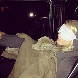 Julianne Hough snoozed her way to the set. Source: Instagram user juleshough