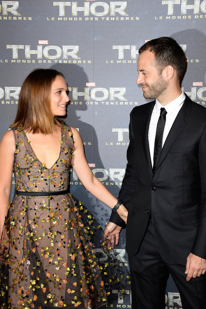 Natalie Portman's husband, Benjamin Millepied, posed for photos with her on the red carpet at the Paris premiere of Thor: The Dark World on Wednesday.