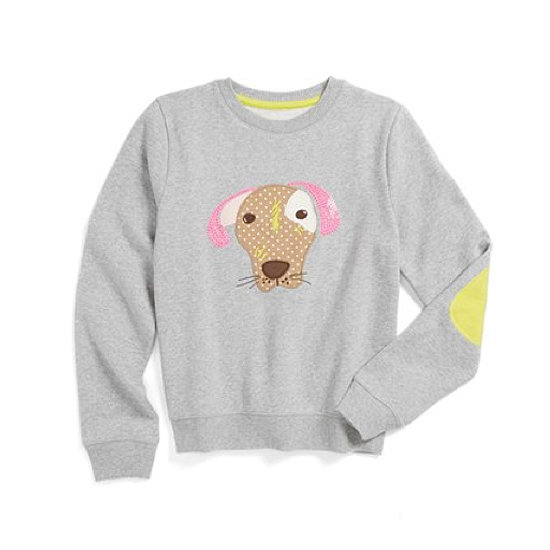 Yellow patches add to the fun feel of this animal sweatshirt ($42).