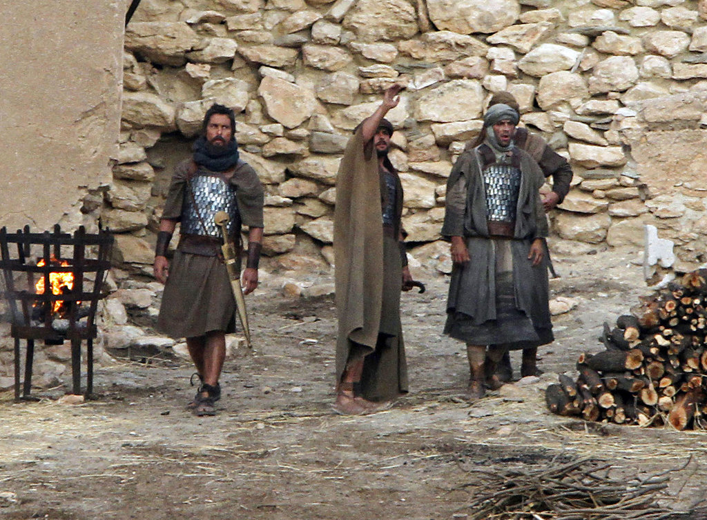 Christian Bale was nearly unrecognizable on the set of Exodus on Thursday in Spain.