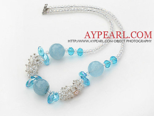 Assorted White and Sky Blue Series Clear Crystal and Blue Jade Necklace with Lobster Clasp
