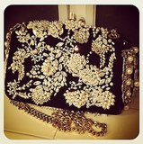 Poppy Delevingne fell for her embellished Dolce & Gabbana clutch — wouldn't you?  Source: Instagram user poppydelevingne