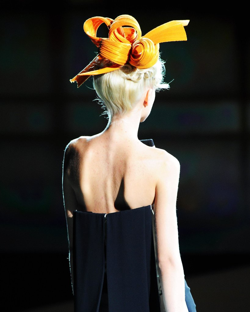 Many of Armani's shows include hats, and this one was a spectacular version.