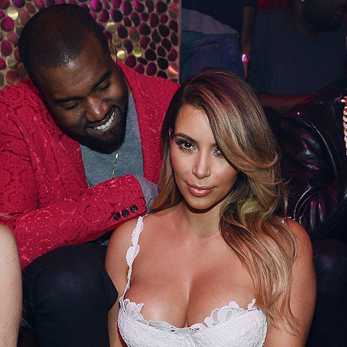 Kim Kardashian In White Dress At 33rd Birthday, Kanye West