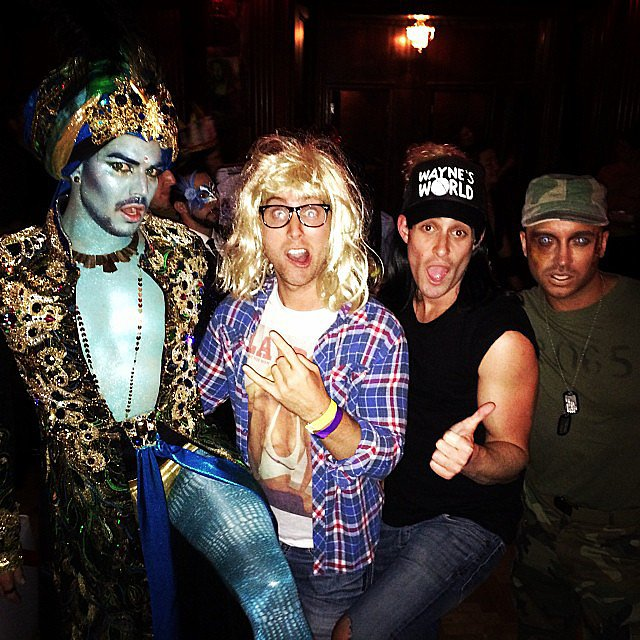 Wayne and Garth Lance Bass went as Garth from Wayne's World for Halloween, posing alongside Adam Lambert in a genie costume. Source: Instagram user lancebass