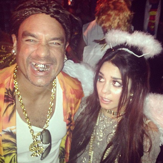 Alien From Spring Breakers Vanessa Hudgens looked angelic for Halloween, making a funny face at her manager, who channeled Spring Breakers. Source: Instagram user vanessahudgens