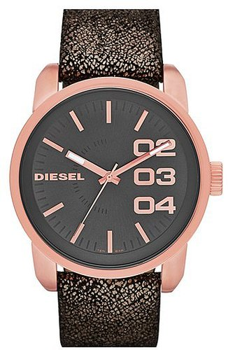 DIESEL® 'Franchise' Metallic Leather Strap Watch, 46mm