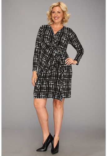MICHAEL Michael Kors - Plus Size Long Sleeve Wrap Dress w/ Logo Pin (Black 1) - Apparel