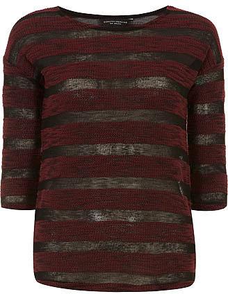 Wine sheer stripe jersey knit