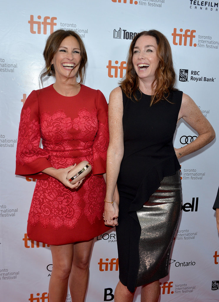 Julia Roberts was all smiles with her August: Osage County costar Julianne Nicholson at the film's Toronto International Film Festival premiere in September 2013.