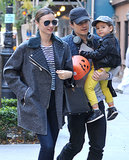 Orlando Bloom and Miranda Kerr took their son, Flynn, out in NYC on Monday.
