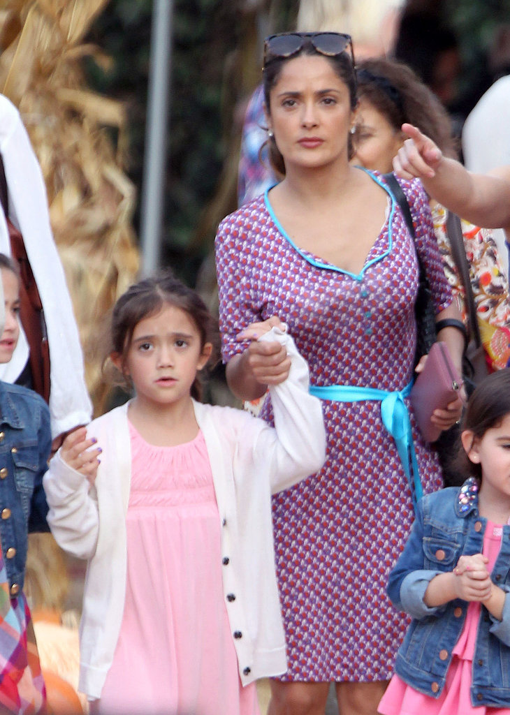 Salma Hayek went pumpkin hunting at Mr. Bones' Pumpkin Patch with her daughter, Valentina.