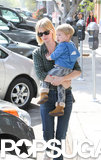 January Jones took little Xander to lunch in LA on Saturday.
