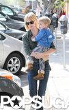 January Jones took little Xander to lunch in LA on Saturday.