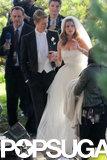 Emily VanCamp filmed a wedding scene with Gabriel Mann on the set of Revenge in LA.
