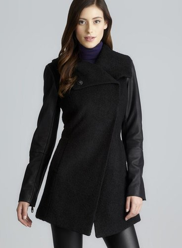 Steve Madden Two Pocket Asymmetrical Coat With Faux Leather Sleeves