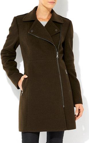 Khaki Green Asymmetric Zip Coat