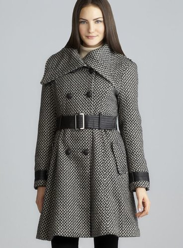 Buffalo Nydia Oversized Collar Belted Houndstooth Coat