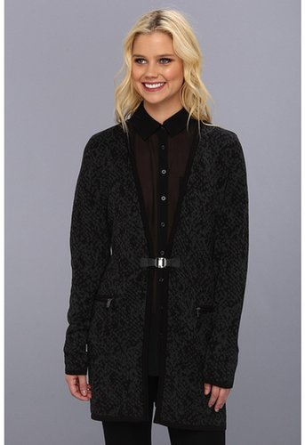Calvin Klein - Jacquard Sweater Coat (Black/Heather Charcoal) - Apparel