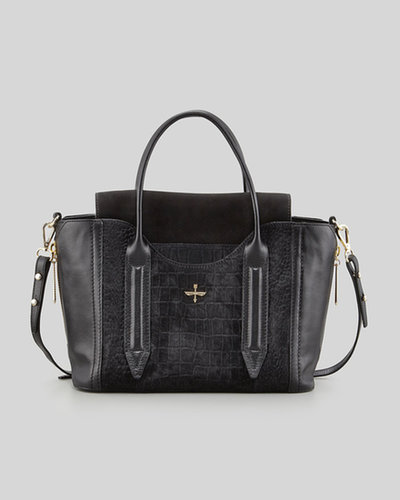 Pour la Victoire Provence Embossed Calf Hair & Leather Tote Bag, Black