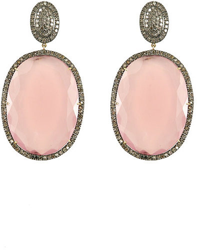 Hari Jewels Rose Quartz Drop Earrings