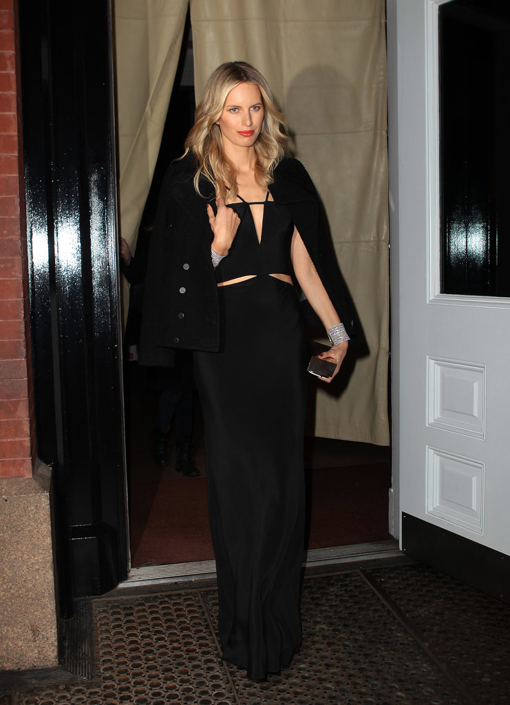 Karolina Kurkova used a chic black blazer to ground a sultry Kaufmanfranco dress while out in New York City.
