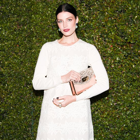 At the Chloé fashion showcase, Jessica Paré embraced the darker elements of Fall with a wine lip stain and black nail lacquer.